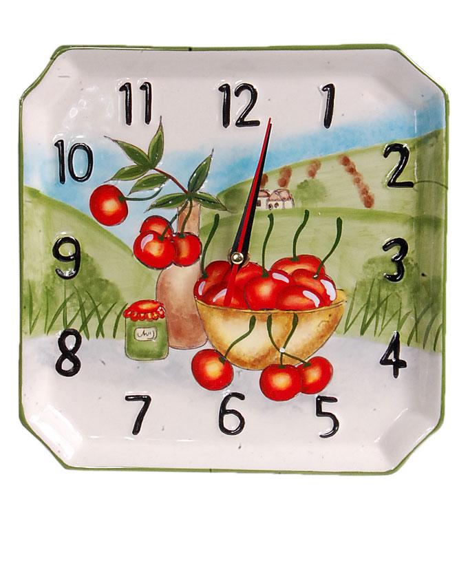new    ceramic square cherries clock - 22cm   nn4,000