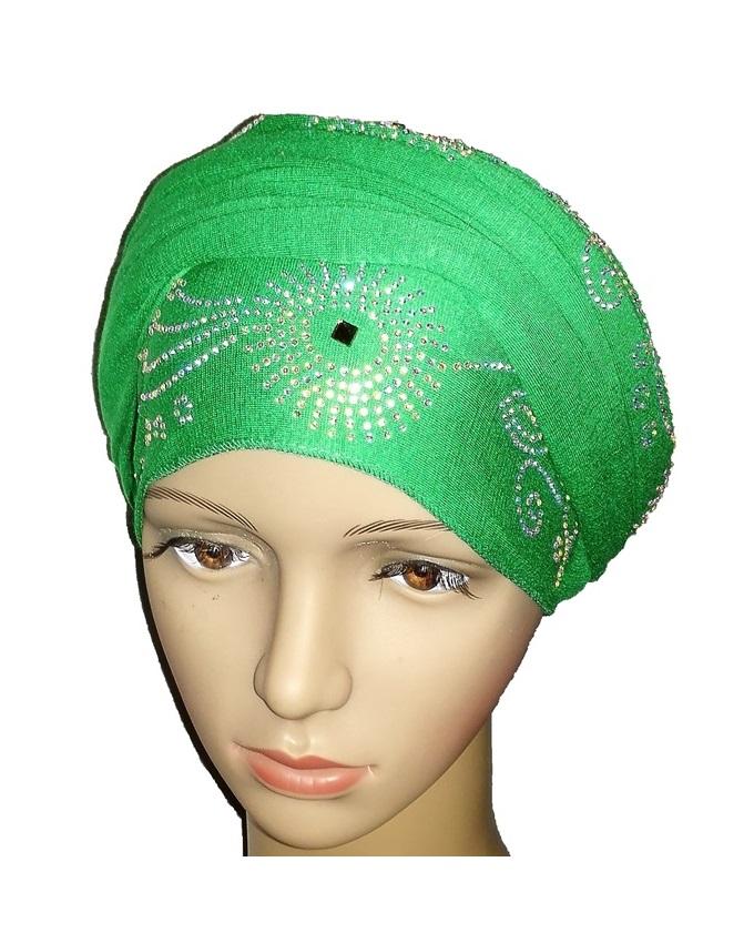 new    regal turban circle studs - leaf green   n5,800