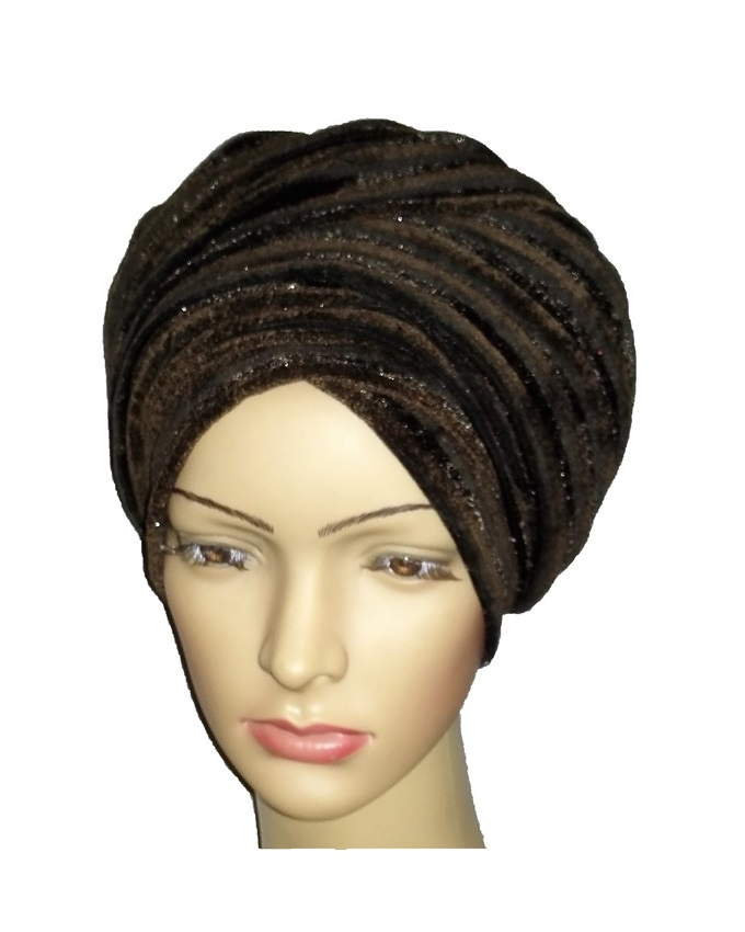 new    velvet turban - thick brown with brown lines   n3,500