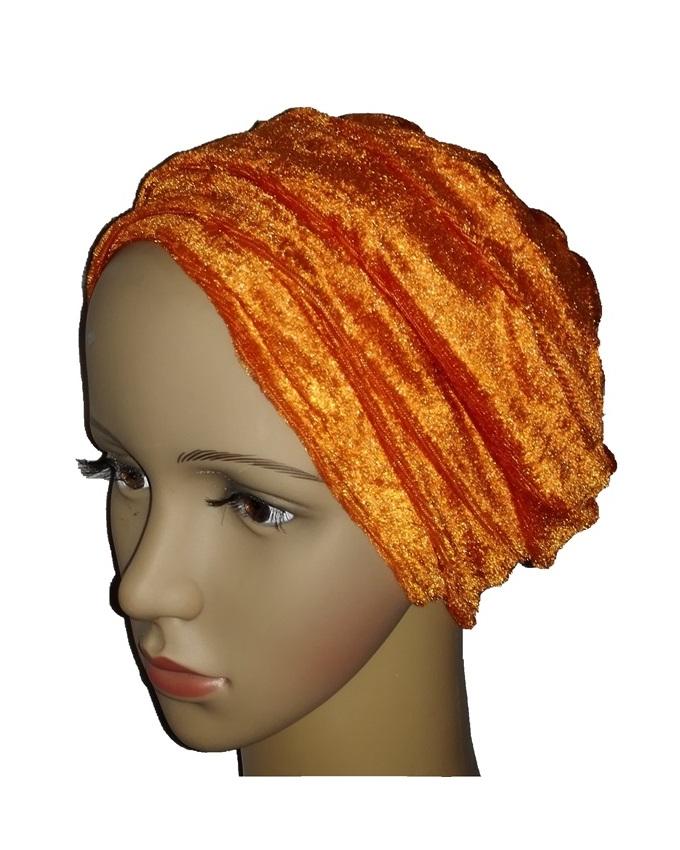 new    velvet turban - burnt orange   n3,000