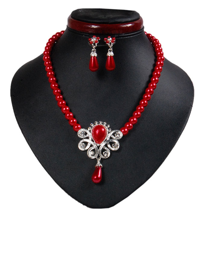 new    hyde park pearl jewelry set - scarlet red   n2,500