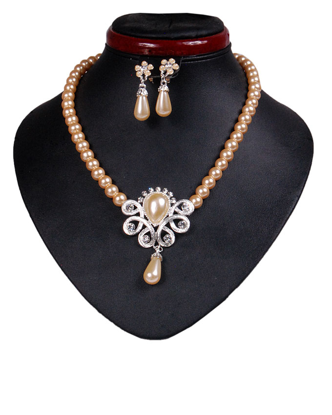 new    hyde park pearl jewelry set - champagne gold   n2,500
