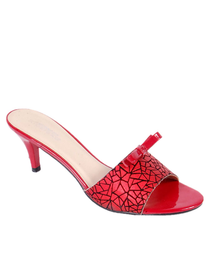 leather slippers with webbed top - red    sizes  u.k 5.5 - 6.5  n12,000