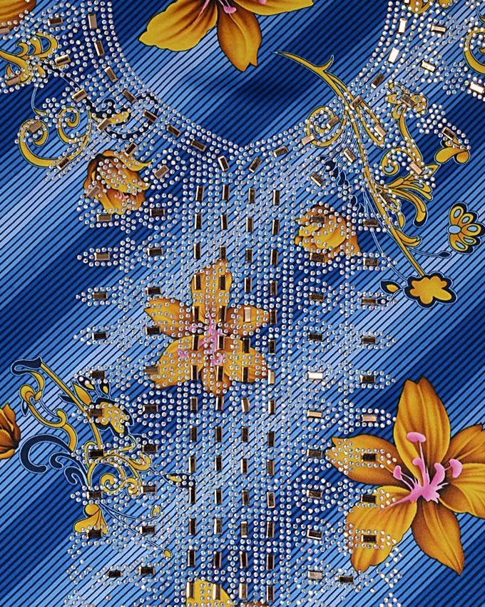 "vu studded fabric w 44"" l 108"" sleeve 18""   n15,000"