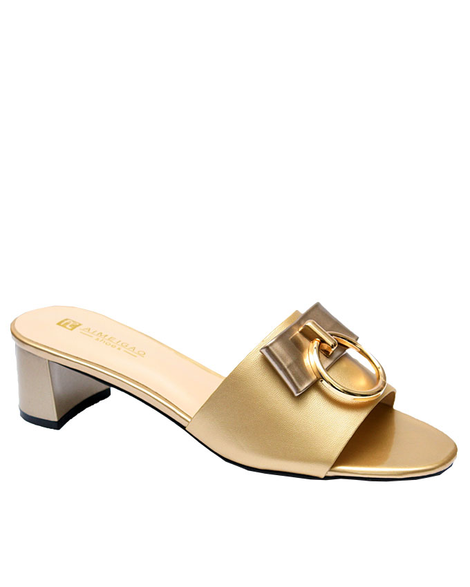 nicky leather slipper with gold hoop detail - gold   eu size 37, 38, 40, 41, 42  n11,250