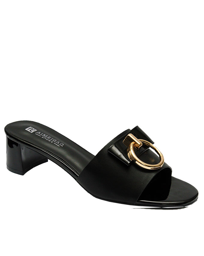 ayomi leather slipper with gold buckle detail - black   eu size 37, 38, 39, 40, 41, 42  n11,250