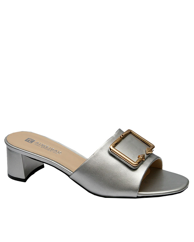 brook slipper with front gold buckle - silver   eu size 37, 38, 39, 40, 41, 42  n11,500