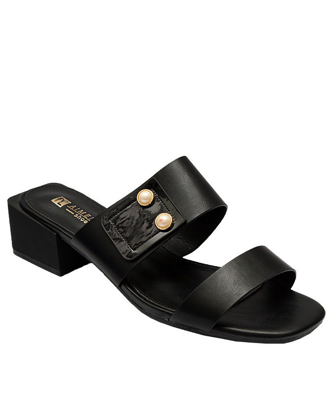 rose leather sandal with side pearls - black   eu size 37, 38, 39, 41  n11,500