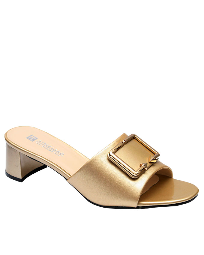 kylee leather slipper with front gold buckle detail - gold   eu size 38, 39, 40, 41, 42  n11,500