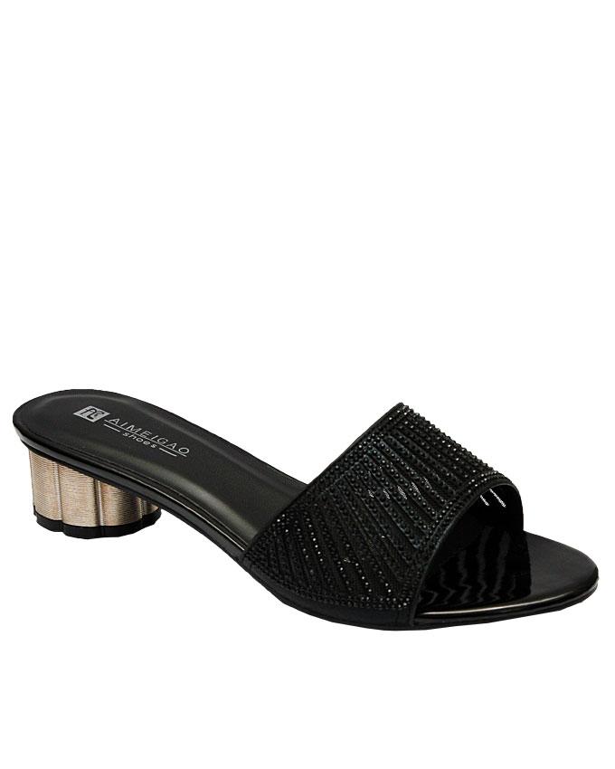 anna slipper with cut-out strips - black   eu size 36, 37, 38, 41  n12,500