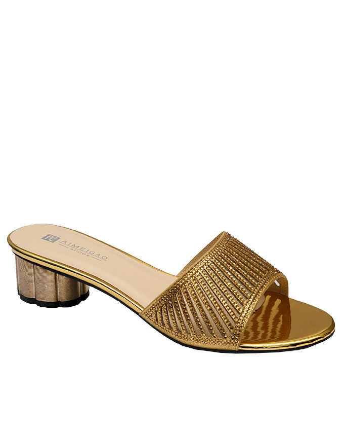 VANESSA slipper with cut-out strips detail - gold   eu size 36, 37, 38, 39, 41  n12,500