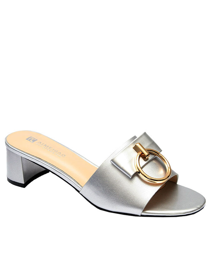 molly slipper with gold ring detail - silver   eu size 37, 38, 40, 41  n11,500