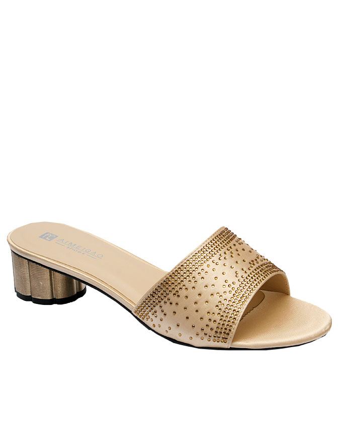 kaylee slipper with studded front detail - gold   eu size 37, 38, 39  n12,000