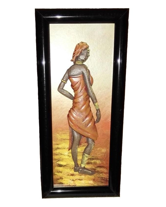 Mira African Woman Wooden Painting - Orange Scarf - 79 x 31cm   N4,000