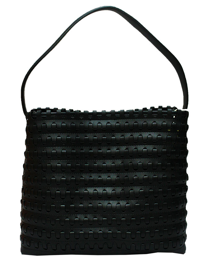 mayfair weave bag - black ( front view)   n25,000