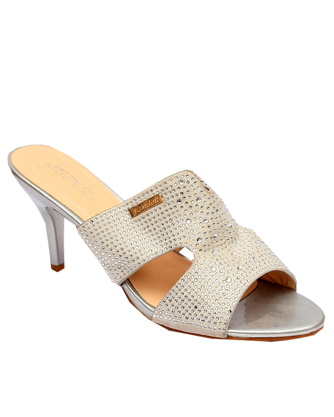 ava cut out slipper - silver   n12,000