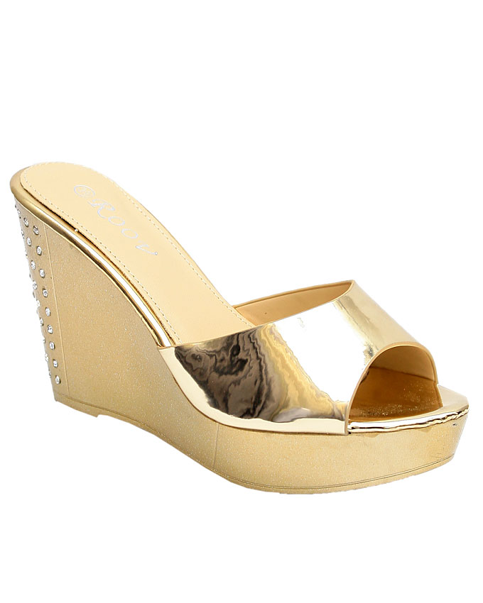 angelina patent wedge slippers - gold    sizes : 36, 37, 38, 39, 40  n11,500