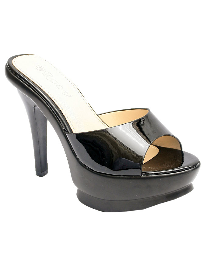 """clementine patent leather 4"""" slippers - black    sizes:  36,37, 38, 39, 40, 41  n12,500"""