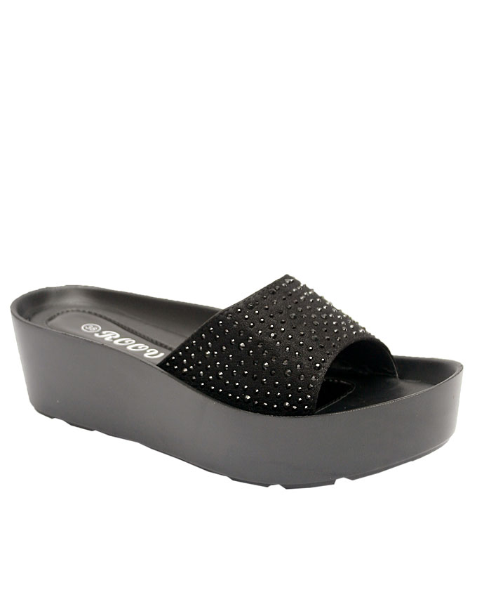 frances comfort slippers w/ studs and velvet style top - black    sizes : 36, 37, 38, 39, 40, 41  n11,500