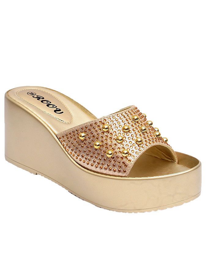 gina comfort slipper with large top studs - gold    sizes : 37, 38, 39, 40, 41  n12,000