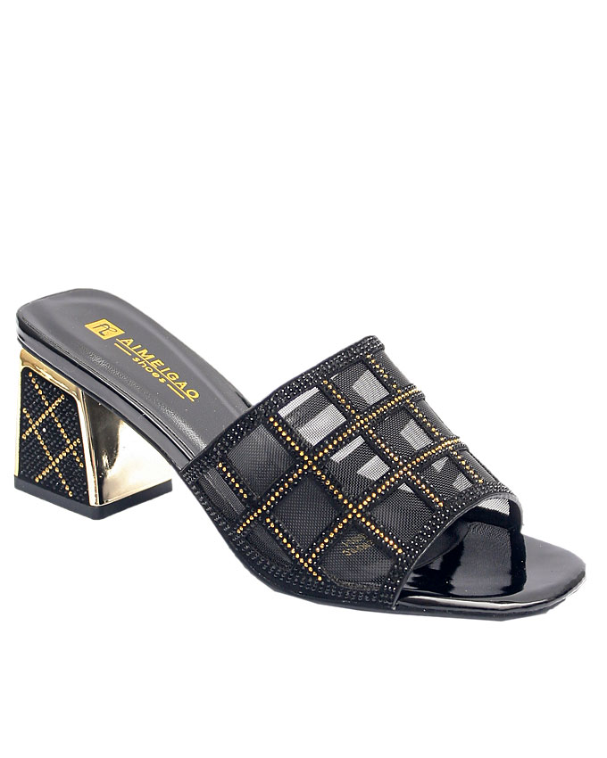 minka mesh slipper with striped heel - black    sizes : 36, 37, 38, 39,40, 41  n12,500