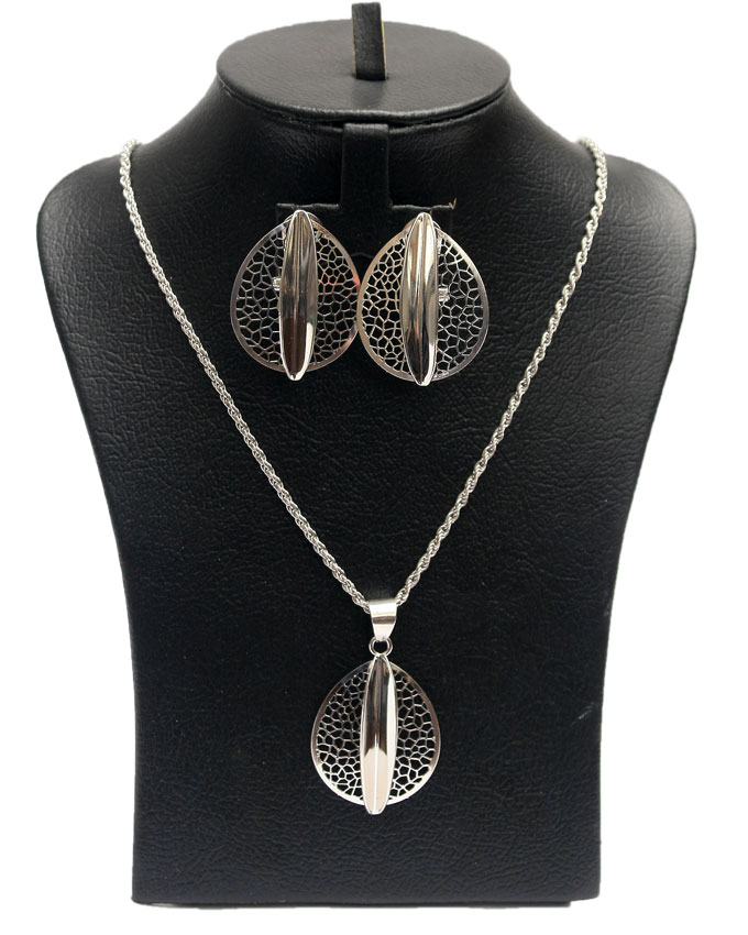 fenway silver plated jewelry set - 2pc   n3,500