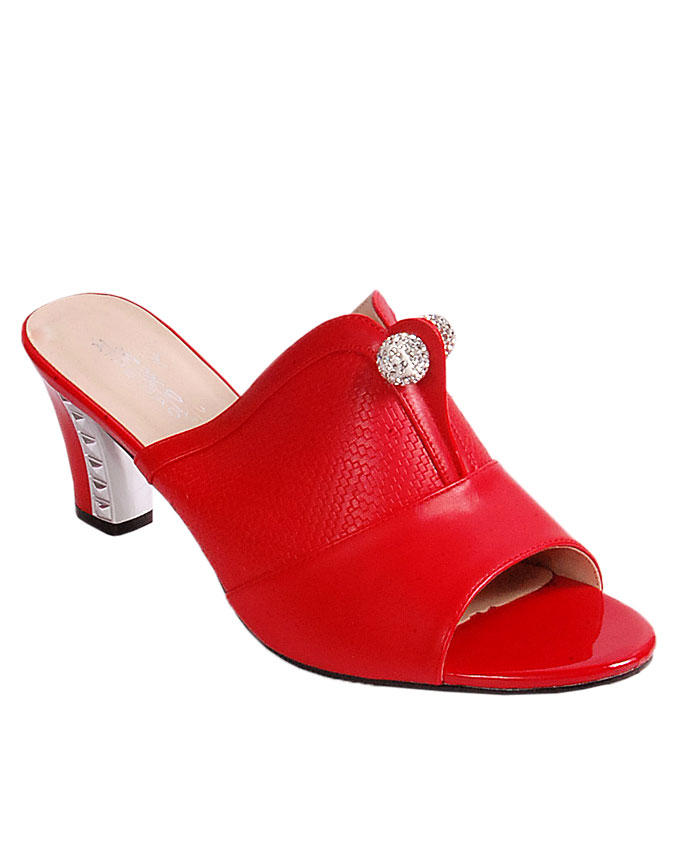 slipper with large silver pin stud detail - red   uk 7 / 41  ( sold out)   n24,000