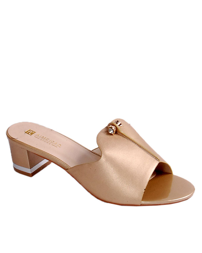S A L E    slipper with small pin stud detail - gold   uk 6.5 / 40 , 7 / 41   WAS  n24,000  NOW  N19,000