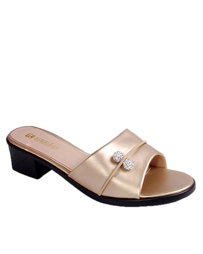 S A L E    slipper with side pin stud detail - gold   uk size 8 / 42   WAS  n24,000  NOW  N19,000