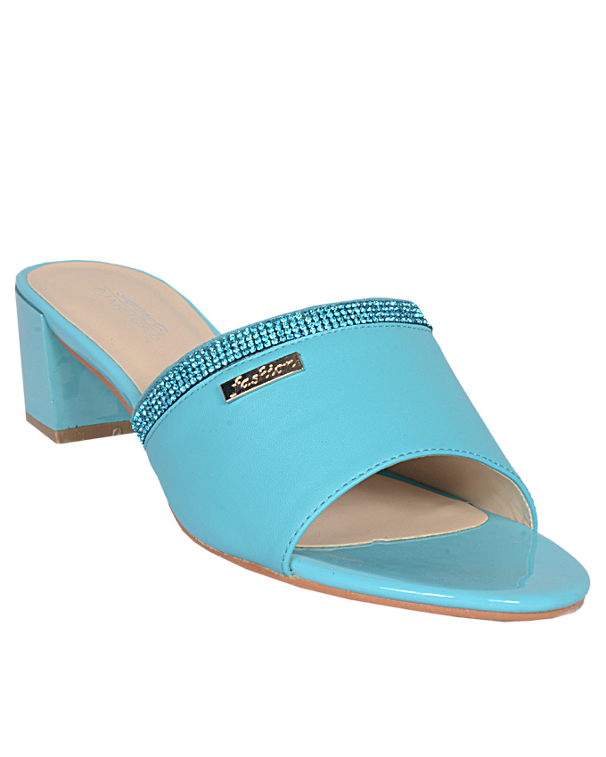 casual slippers with blue trim - blue    sizes  u.k 6  n12,000