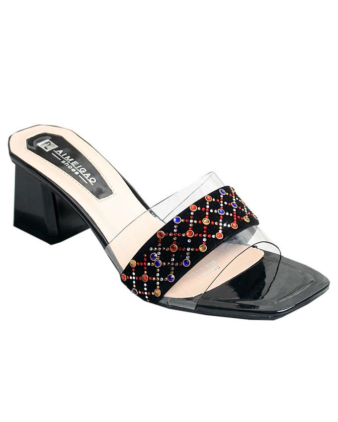 beatrice transparent slippers - black    sizes : 37, 38, 39, 40, 41  n12,000