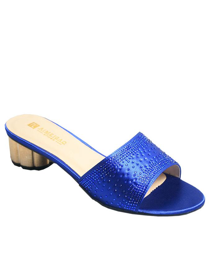 bruna studded satin slippers - blue    sizes : 36, 37, 38, 39, 40, 41  n12,000