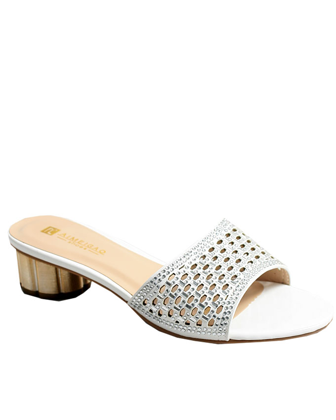 wendy perforated slippers - white    sizes : 37, 38, 39, 40, 41  n12,000