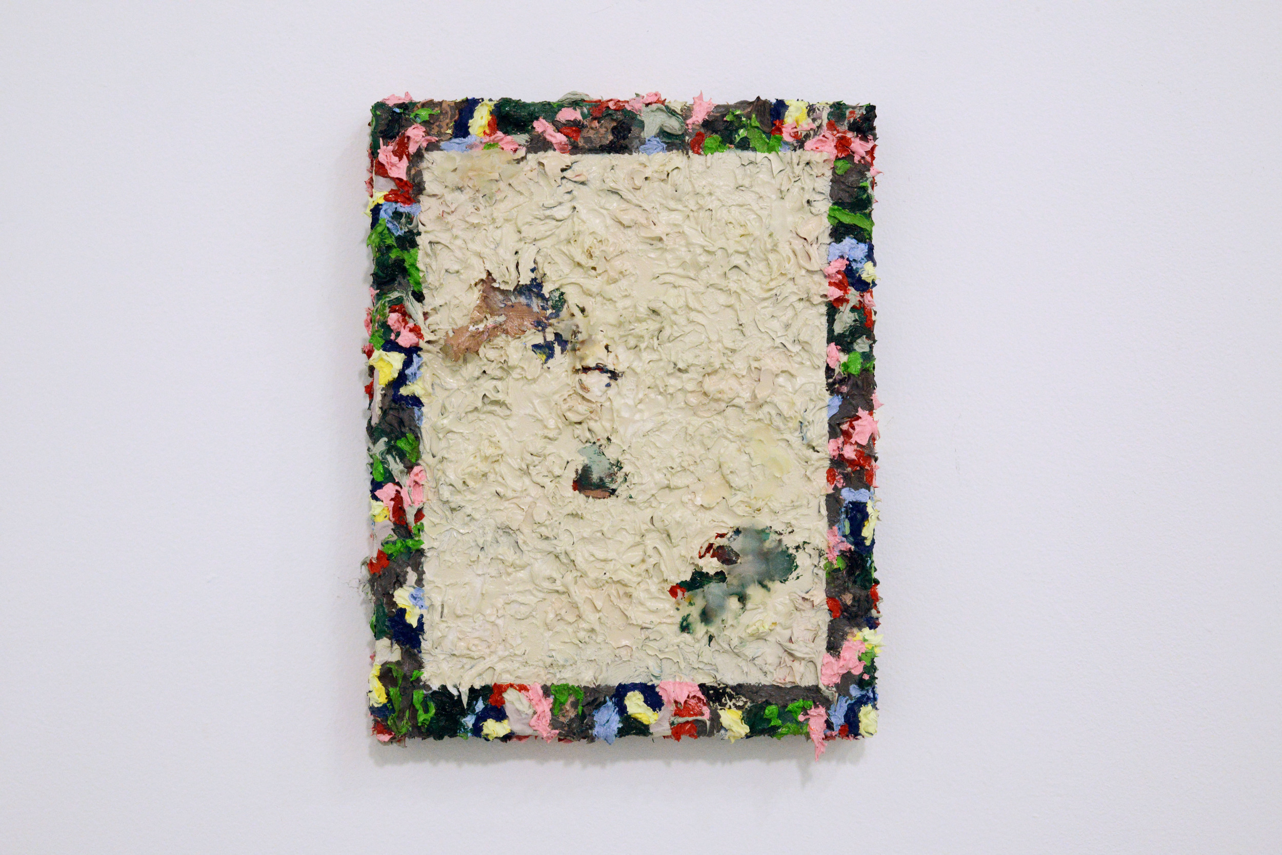 David Anderson   Last Night I Traded My Soul's Innermost For     Some Pickled Fish   Oil, wax, spray paint, on linen  2015