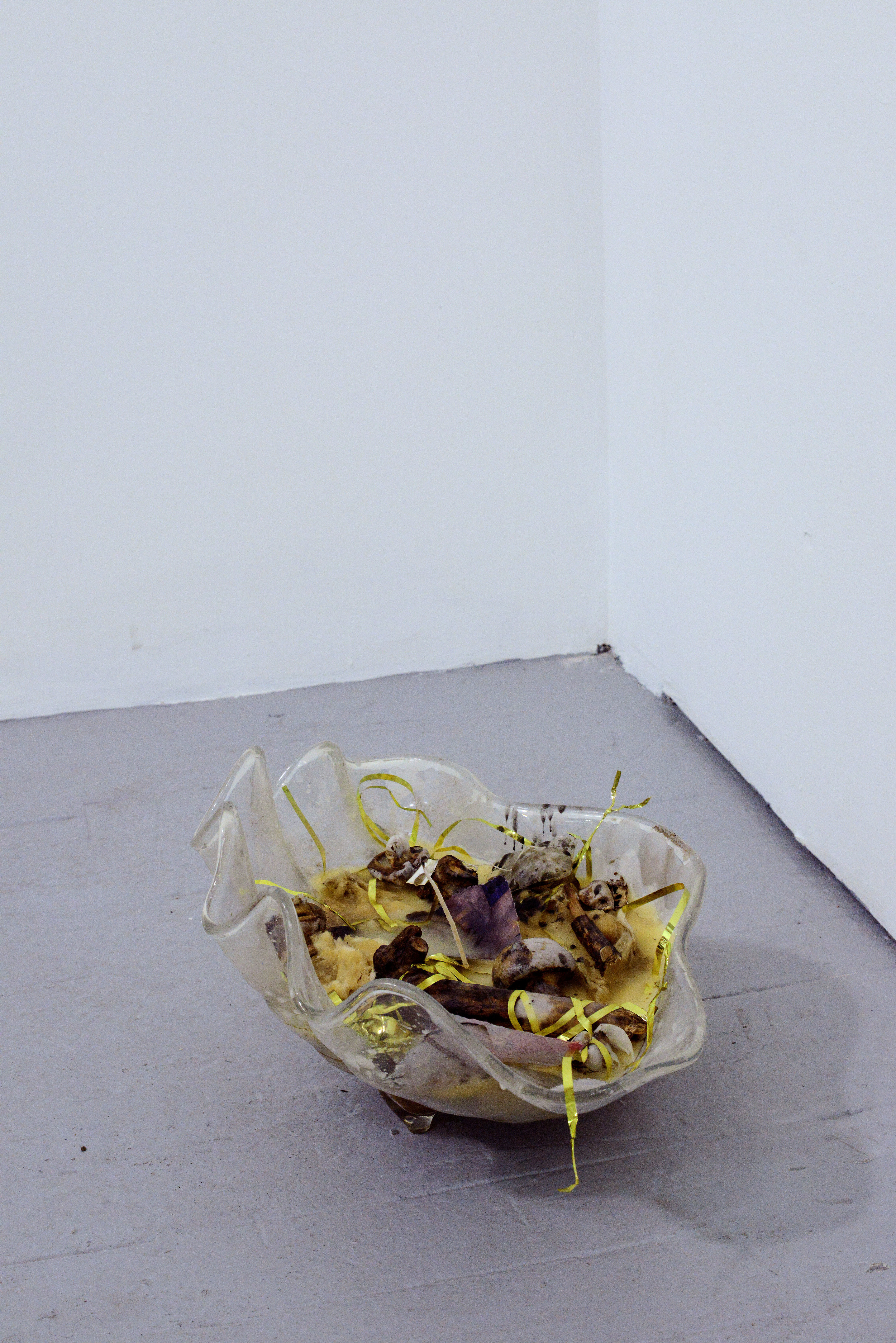 David Anderson   Clam Shell Candle   Wax, magazine collage, mushrooms, tinsel,  tea bag, sticks, insulation fiberglass, candle  wick, plastic  2015