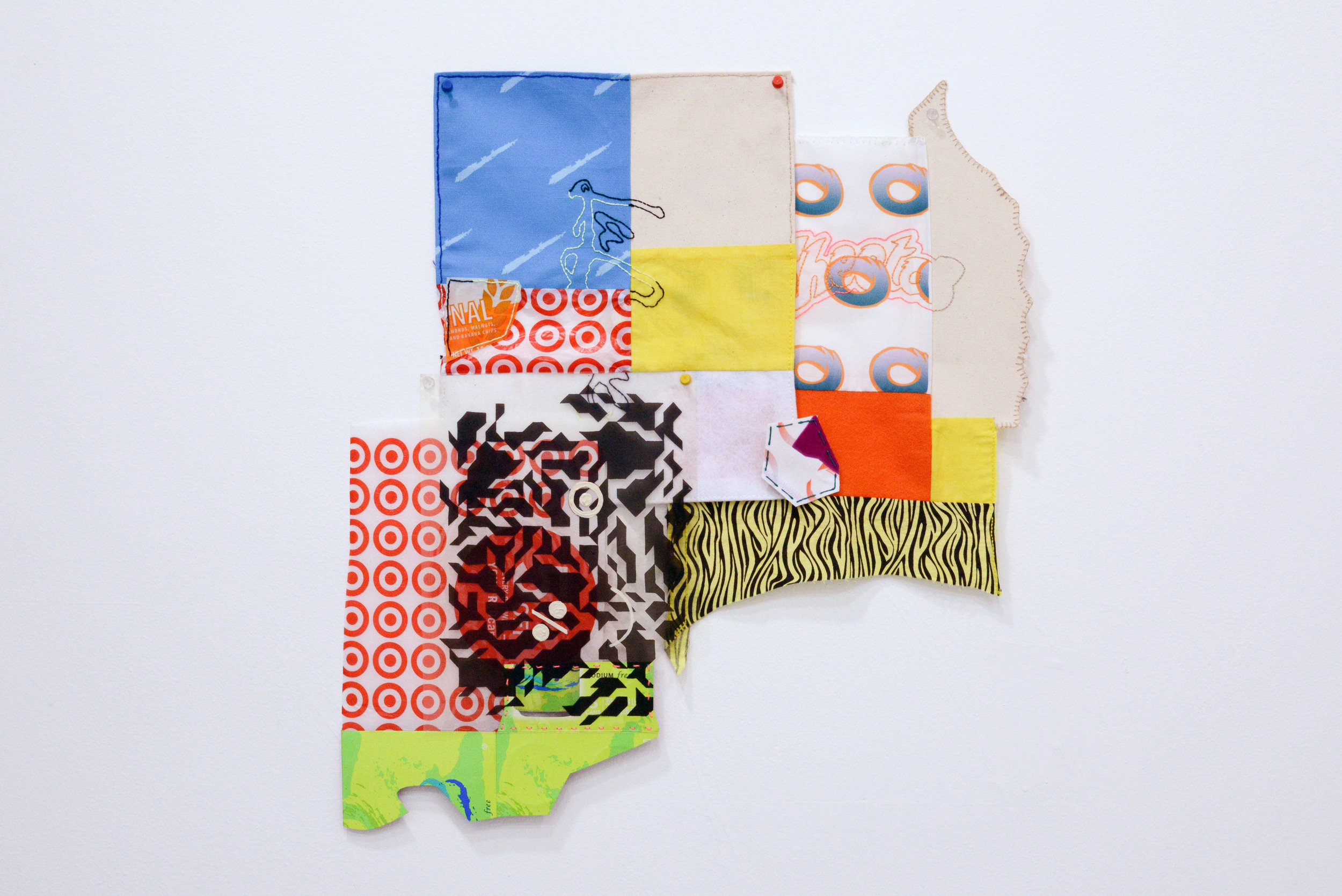 Untitled   Ann Catherine Carter  Fabric, digitally printed fabric, embroidery, felt,  canvas, plastic, transparency, and cardboard  2015