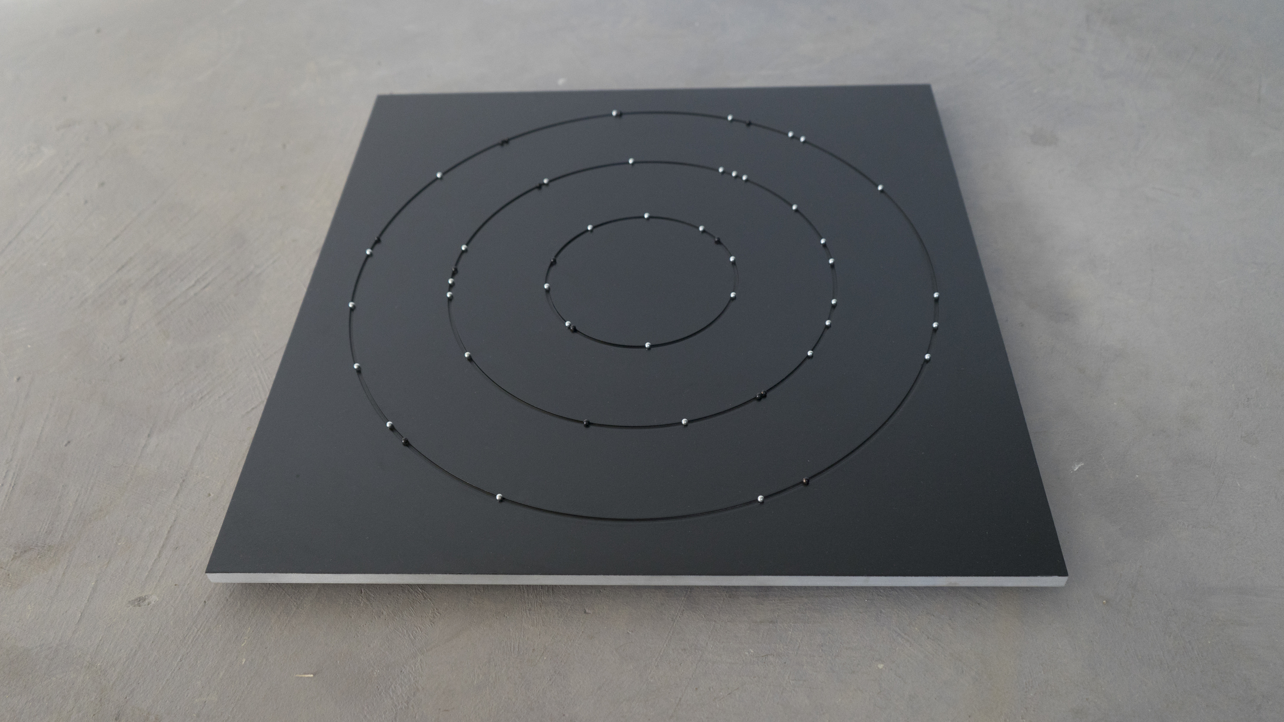 The Clock    Enamel on aluminum with steel bearings  2015