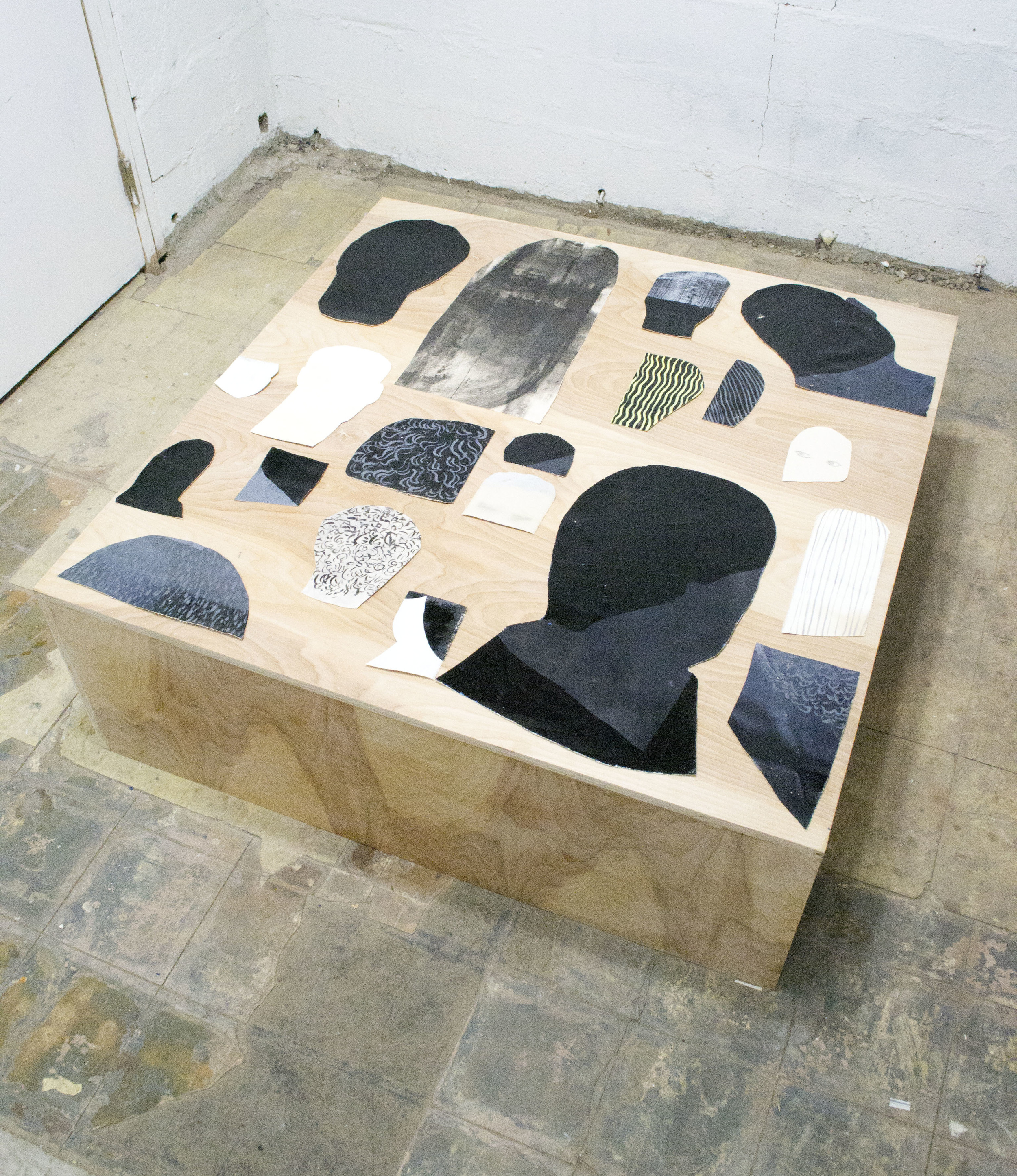 Cut Outs #40 - 57   oil on canvas on plywood platform  2014-2015