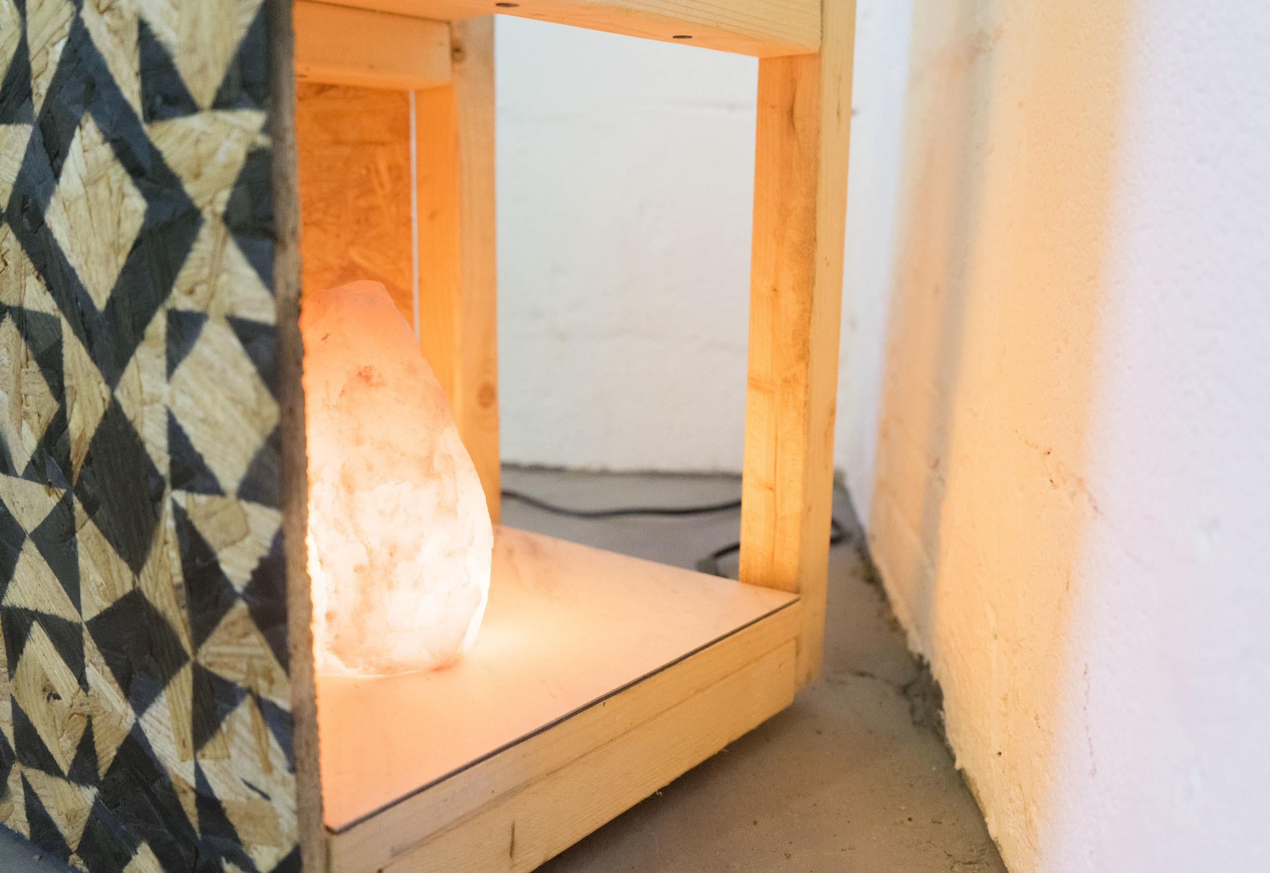Charging Station 1    Wood, paint, casters, vinyl tile, Himalayan salt lamp  2016