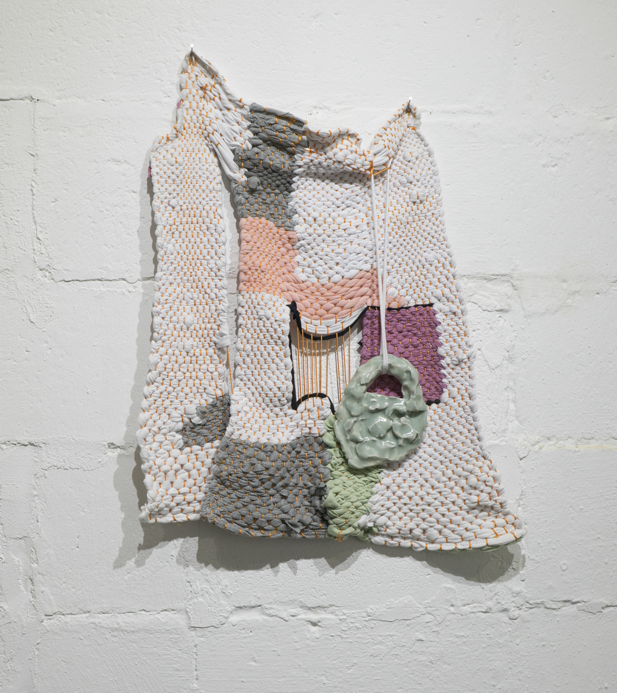 Untitled (Wall Weaving #1)       Allison Wade     Ceramic, hand-dyed knit, knit   2016