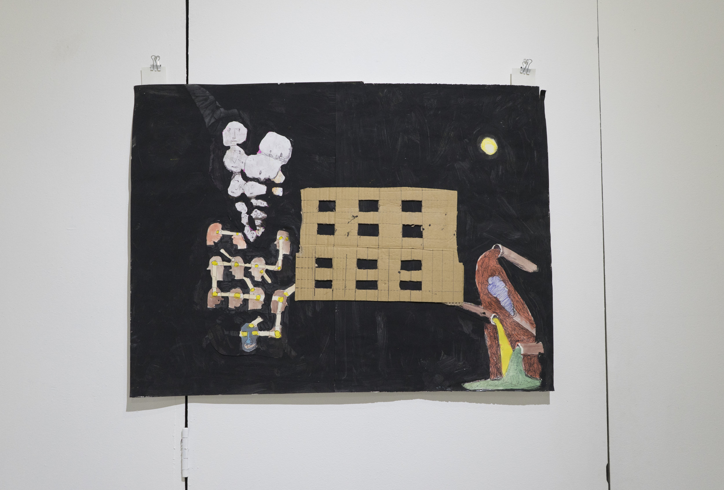 Fusion Fools Dedicate Night to the Moon     Matt Christy   Tempera, collage, ink, acrylic, ink, and cardboard on paper  2015