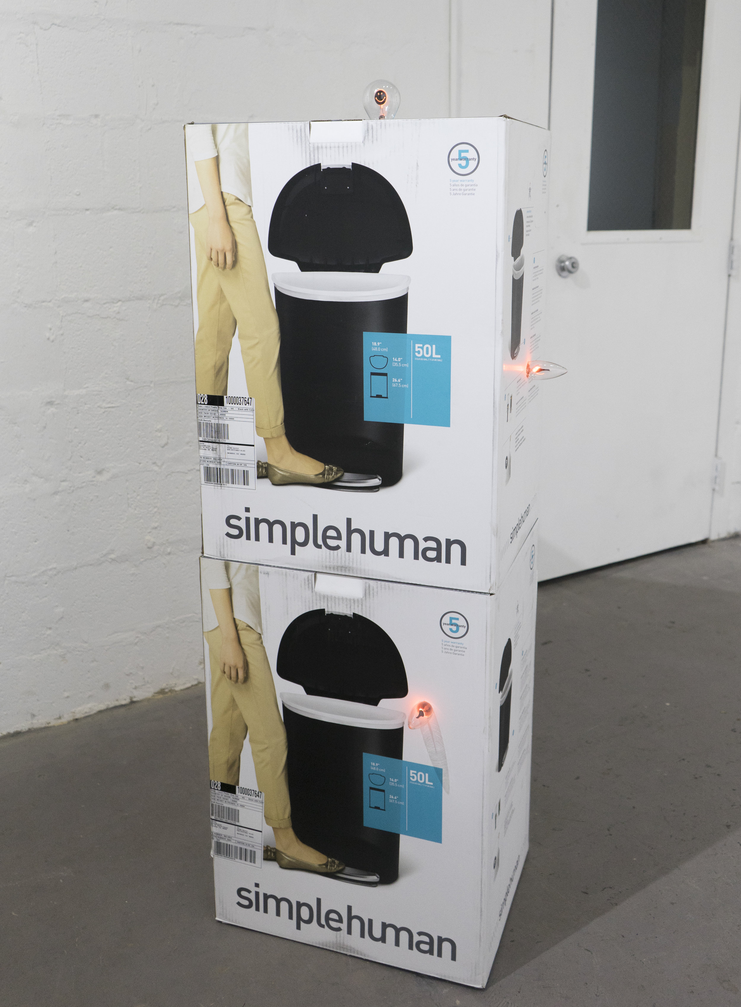 Simple Human Animal    Unopened trash cans, flickering and smiley face incandescent light bulbs  2016