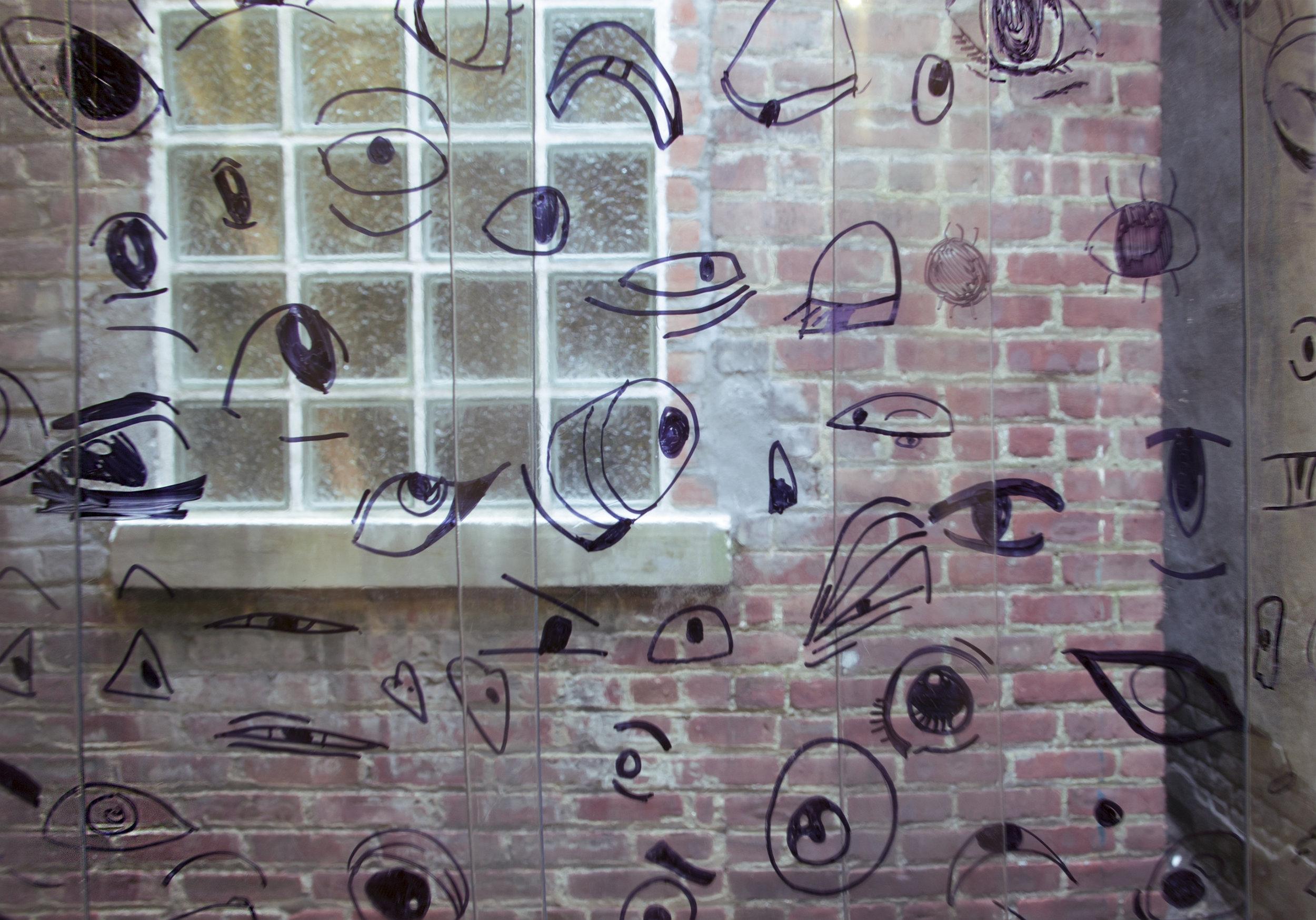 Mika Agari   Pearl Onions and Black Eyed Peas    2017  Plastic industrial door curtain, collected ink drawings of eyes, steel hardware
