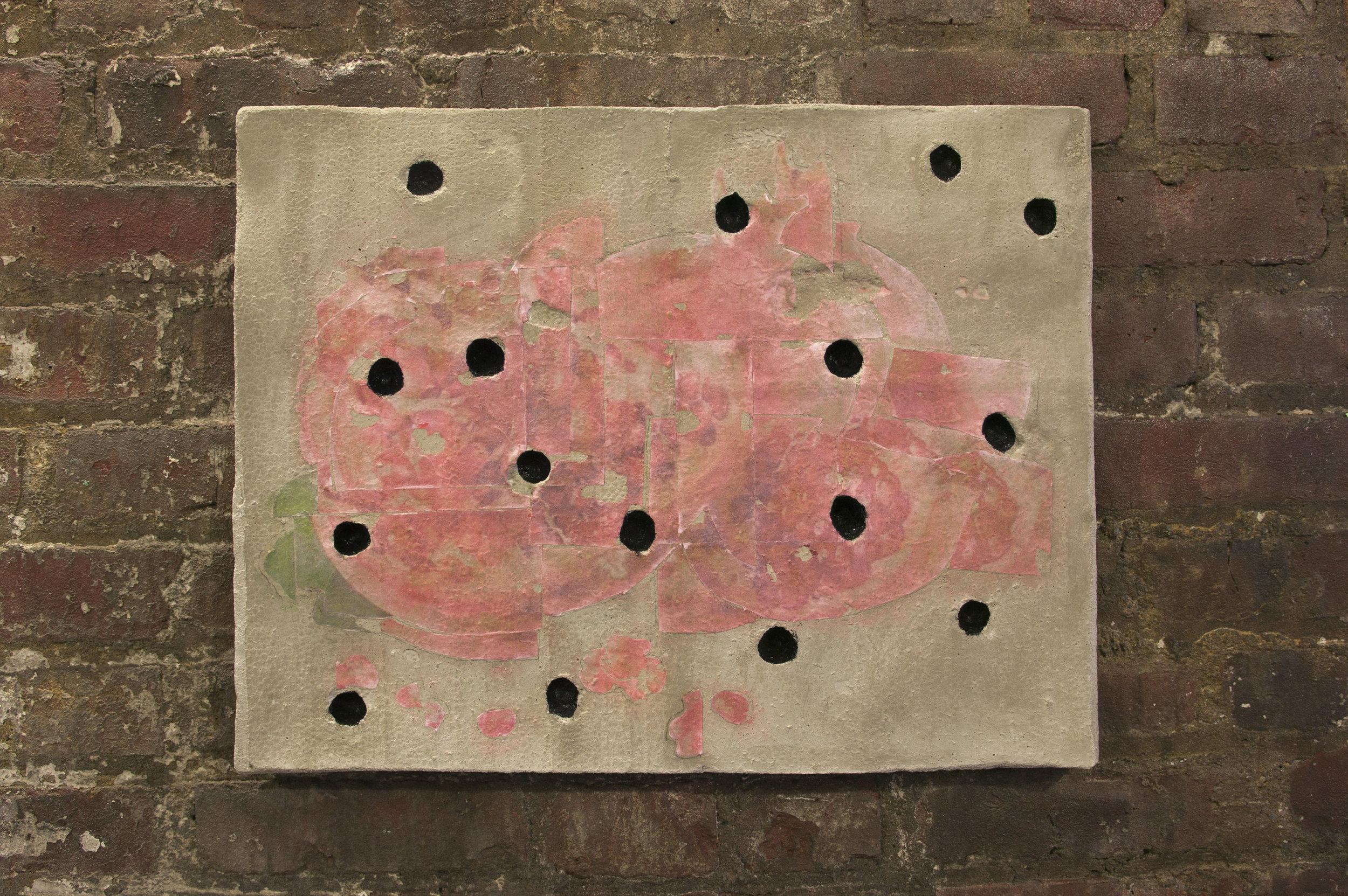 Zack Rafuls   Still Life (Pomegranate)   2017  Acrylic medium image transfer on cast concrete, enamel