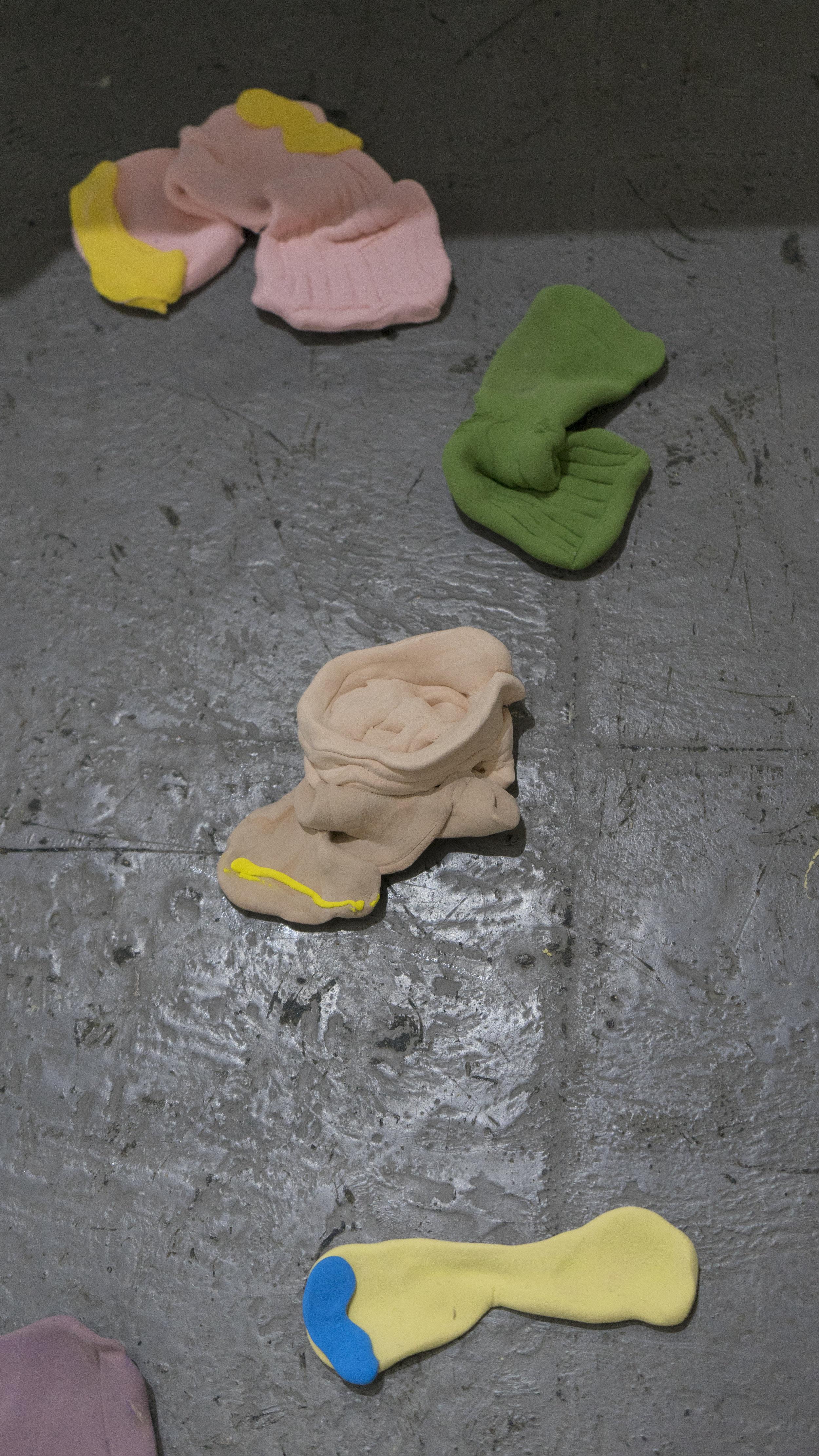 Kitchen table - floor - bed - socks   Bridget Bailey  Air dry clay  2017