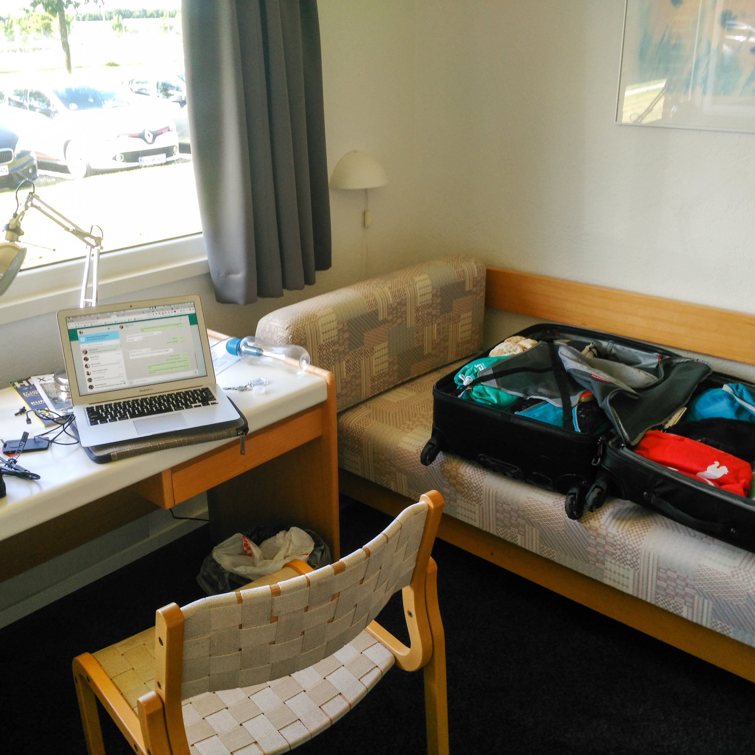 This looks more like my typical hotel rooms. They aren't usually super fancy, more barebones. Sometimes we are even in dorm rooms (so wish I had taken a photo of the dorm room in Australia!)
