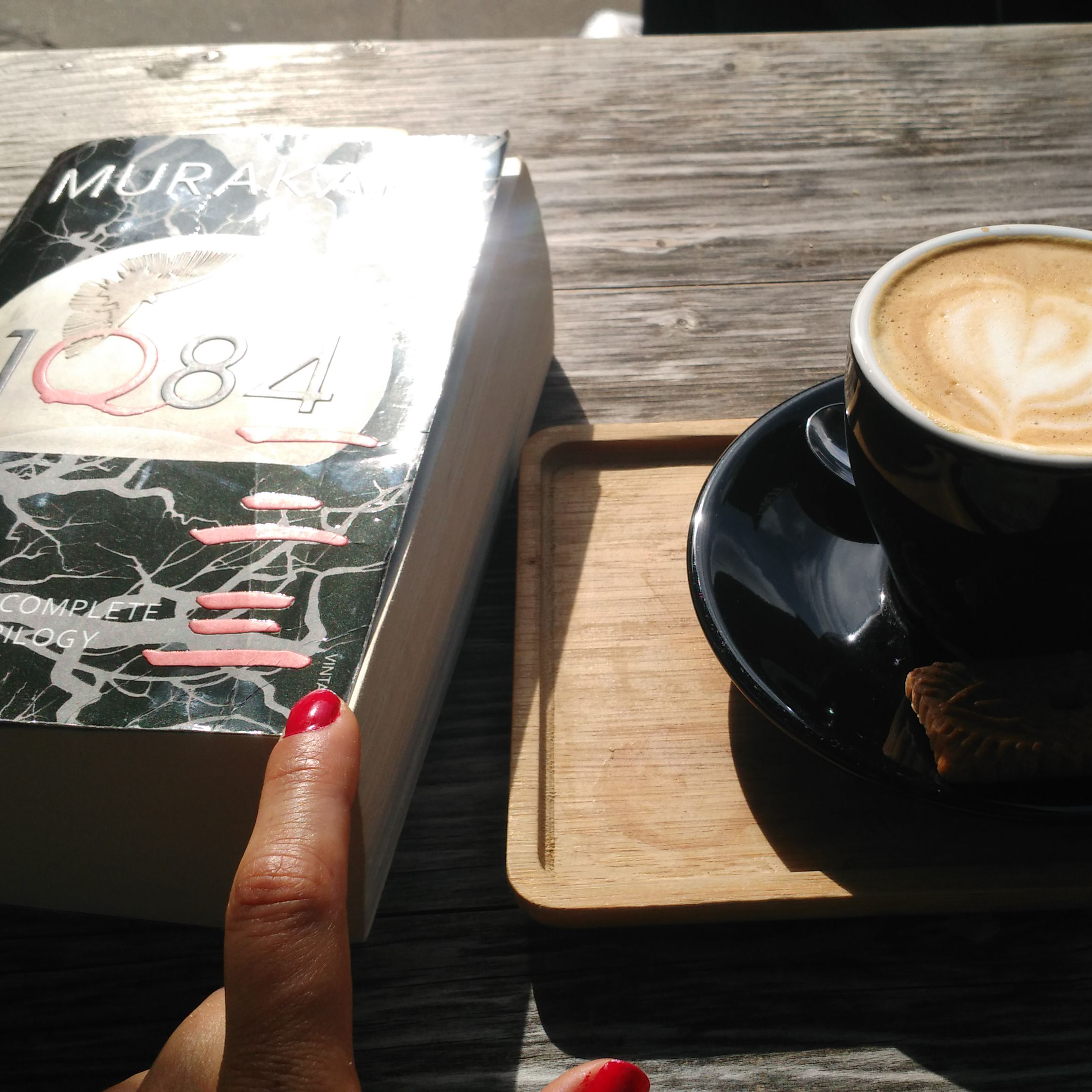 Cafe, coffee, books, 1q84, soy latte, Europe, Gent, Belgium, expat, American, loneliness