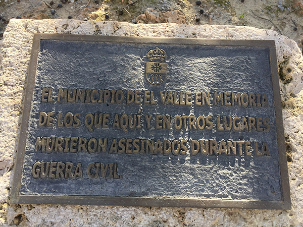 The town of El Valle remembers those here and in other places who were killed during the Civil War.