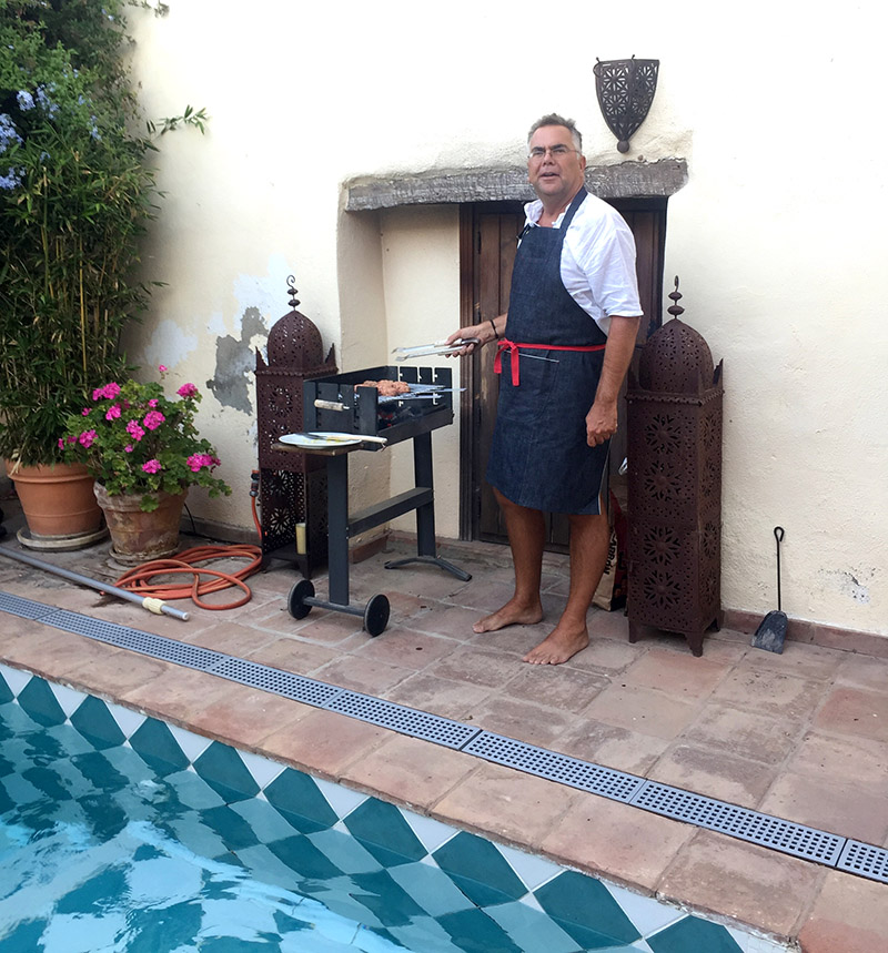 Ian at the BBQ (wearing the most chic apron from  Alde custom Clothing Thanks to John!)