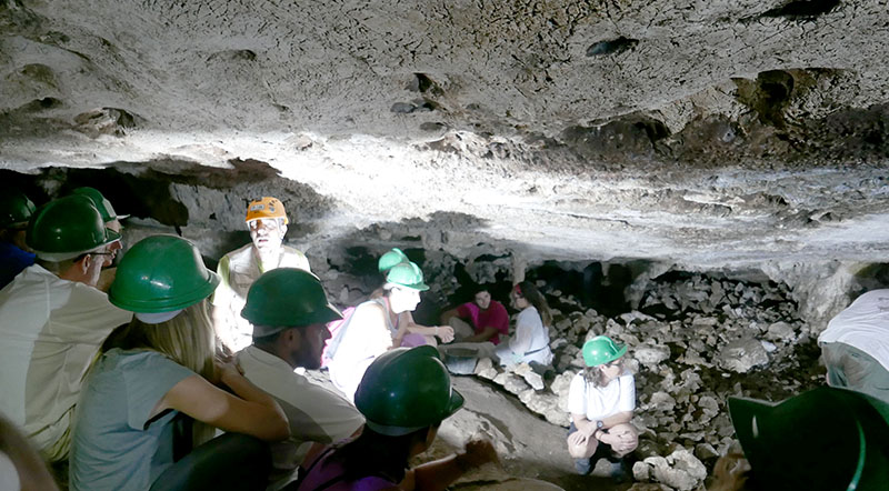 Archaeologists working in the cave